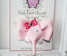 Pink Elephant Ribbon Sculpture Hair Bow.  Baby Pink Elephant Clip. Free Ship Promo.. $4.50, via Etsy.