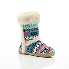 Blue Christmas      blue knit fluffy slipper boots