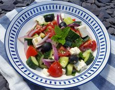 One of my favorite Summer salads is the Greek salad because it's very easy to make and can be served as a main for a light lunch or a side dish with Feta Cheese Recipes, Greek Salad, Greek Recipes, Summer Salads, Fruit Salad, Yummy Food, Easy, Fruit Salads, Delicious Food