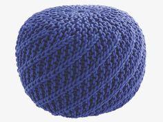 KNOT BLUE Fabric Blue knitted round pouf - HabitatUK