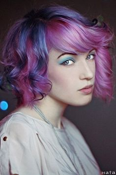 Attractive Asymmetric Bob Cut -- also, purple, blue, and pink. Aww yissss......