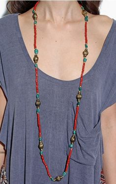 natalie b tibet turquoise coral necklace