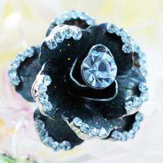 White Gold 3D Blue Rose Flower Austrian Crystal Ring