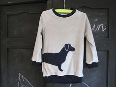 Raglan applique shirt. must make. love the contrasting trim and matching dog.