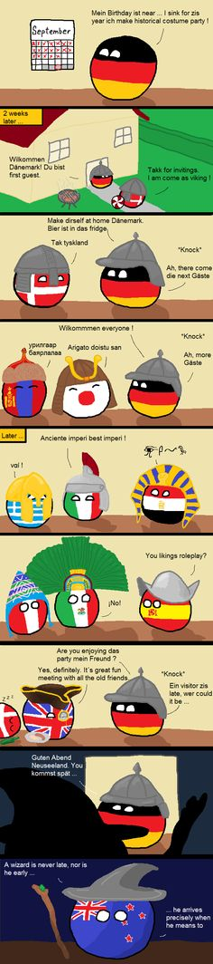 A late visitor (Germany, Denmark, Mongolia, Japan, Greece, Italy, Egypt, Peru, Mexico, Spain, UK, New Zealand) by prokaryo  #polandball #countryball