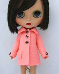 salmon pink woolfelt spring coat for blythe by ohchiwawa @ etsy
