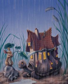Turtlehouse in the Rain  Original Painting by phpeacock on Etsy, $625.00