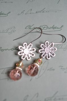 Not grandma's doilies.  These pretty silver doily earrings, with vintage foil-lined beads and pink glass beads.