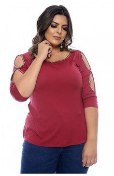 b9fe40fc9 Resultado de imagem para blusas plus size Blusa Com Perolas, Bordado Em  Pedraria, Vinho