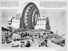 """Hugo Gernsback's proposal for a """"Gigantic Monument to Electricity,"""" from """"Science and Invention"""" October, 1922 Syracuse University Libraries, Special Collections Research Center"""