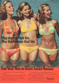 April 'Show up in a bikini that fits from. - Just Seventeen Fashion Images, 70s Fashion, Bikini Fashion, Vintage Bikini, Vintage Swimsuits, Blond, Justin Bieber Facts, Retro Summer, Seventeen Magazine