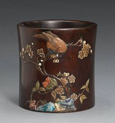 An hardstone inlay wood brush pot; 6 1/2in (16.5cm) high.