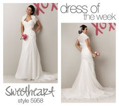 Our pick for Dress Of The Week is this organza strapless sweetheart neckline wedding dress. Style 5958 has asymmetrical draping with rolled flowers and beading accents at the hip.     #dress #wedding #gown #bride #love
