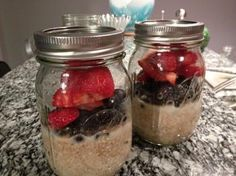 organic oat groats. overnight breakfast ~ berries ~ fruit ~ almond milk.