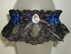 Blue Silver and Black Lace Hunting Browning Deer and Buck Rhinestone Sparkle Prom or Wedding Garter
