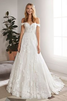 Pronovias White One Bridal OLIOLA Sheer Lace Bridal Dresses. Illusion Lace Bridal Gowns at Glass Slipper Bridal & Glass Slipper Formals! Designer Bridal Gowns at Unbeatable Prices. Sweetheart Wedding Dress, Lace Mermaid Wedding Dress, Dream Wedding Dresses, Lace Dress, Tulle Lace, Spring Wedding Dresses, Lace Wedding Gowns, Wedding Shoes, Aline Wedding Dress Lace