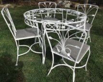 Vintage wrought iron white garden patio table 4 chairs ivy detail garden gazebo furniture