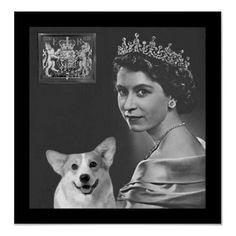 Young Queen Elizabeth II and corgi dog