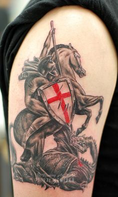 St George and the Dragon Tattoo by Flaming Art Tattoo, via Flickr #tattoo #tattoos #tattooartist #tattooart #raywewerka #flamingarttattoo #ink #skinink #skinart #stgeorge #dragon