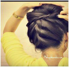 Korean Bun | Upside down braid bun | easy, step-by-step rope braid hair tutorial video for medium long hair - prom, wedding, homecoming, bridesmaid