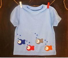 Camiseta Peces Niño. Handmade.