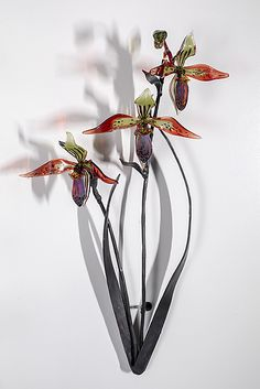 Triple Lady Slipper by Loy Allen (Art Glass Wall Sculpture)