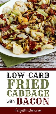 Low-Carb Fried Cabbage with Bacon is quick, easy, and absolutely delicious for a low-carb and Keto dinner idea! [found on KalynsKitchen.com] #KalynsKitchen #FriedCabbage #FriedCabbageBacon #LowCarbFriedCabbageBacon