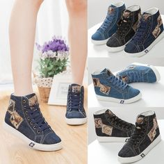 New Women Shoes Ankle Boots Lace Up Denim Canvas Flats Bear Sneaker High Tops in Clothes, Shoes & Accessories, Women's Shoes, Boots | eBay