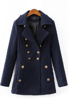Navy Turn-down Collar Long Sleeve Double-Breasted Trench Coat.