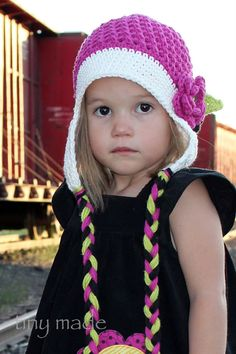 Little Miss Frilly Crochet Flower Eaf Flap Hat by littlemissfrilly, $22.00