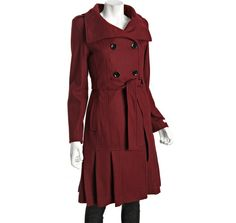 Red! The collar buttons up to keep your neck warm and it has a swishy skirt bit on the bottom. $143 on sale at Bluefly