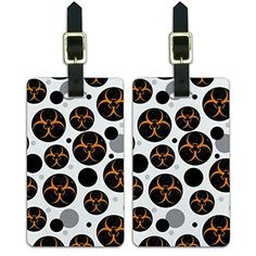 Luggage Suitcase CarryOn ID Tags Set of 2  Biohazard Warning Zombie Symbol  Orange Distressed -- Want to know more, click on the image.Note:It is affiliate link to Amazon.