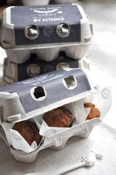 Mini muffins in egg cartons- teacher appreciation breakfast drop off