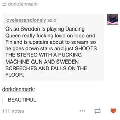 (Finland and Sweden getting into a musical showdown involving ABBA and metal music)