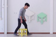 From 2D To 3D: These Folding Chairs Collapse Into 2D Wall Decors