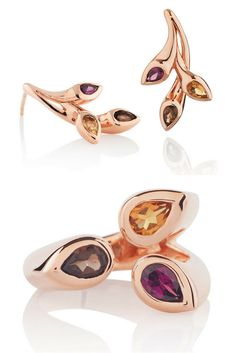 Gold Plated Sterling Silver Gemstone Ring and Earrings by British Jeweller MANJA.  Songofjewellery.com - free shipping.