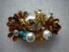 Vintage Faux Pearl Turquoise Rhinestone Gold Tone Flower Brooch Pin