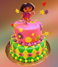 Colorful Two Tier Dora Birthday Cake