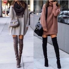 Great outfit idea to copy ♥ For more inspiration join our group Amazing Things ♥ You might also like these related products: - Dresses ->. Casual Winter Outfits, Cute Casual Outfits, Winter Fashion Outfits, Look Fashion, Stylish Outfits, Autumn Fashion, Brown Boots Outfit Winter, Sexy Fall Fashion, Long Boots Outfit