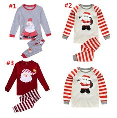 Christmas Kids Pajamas Set Xmas Santa Claus Children Sleepwear Night Wear  Autumn Winter Sleepcoat Striped Cotton Pyjamas 2PCS Outfit 2T-7T bc90c8d65