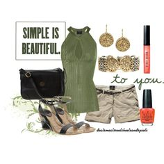 """""""Khaki, olive, & black ~~ I would adore this with capris! Casual Attire, Summer Chic, Khaki Shorts, Polyvore Outfits, What To Wear, Summer Outfits, Fashion Looks, Style Inspiration, Purses"""