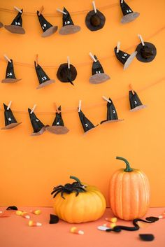 Use twine to hold a Halloween countdown calendar in your home! Secure witch's hats to the line with clothespins and add candy to each decoration for a fun surprise every day! http://www.lightsforalloccasions.com/c-433-burlap-jute-twine.aspx