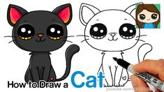 How to Draw a Black Cat Easy Cute Animal Drawings, Kawaii Drawings, Cute Drawings, Pencil Drawings, Drawing Cartoon Characters, Cartoon Drawings, Animation In Photoshop, Simple Cat Drawing, Kitten Drawing