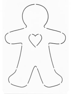 NOTION - Stencil - Template: Gingerbread Man - Heart - Layer Cake Friendly - Applique Stencil - Temp