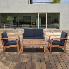 International Home Miami Murano Conversation Set with Blue Cushions in Brown Resin Patio Furniture, Outdoor Furniture Sets, Furniture Logo, Asian Furniture, Street Furniture, Furniture Stores, Furniture Plans, Outdoor Seating, Outdoor Decor
