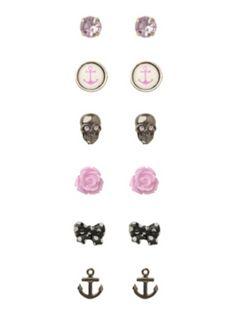 LOVEsick Skull Bow  Anchor Rose Earrings 6 Pair
