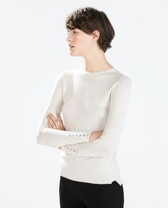 Image 4 of RAYON SWEATER WITH BUTTONED CUFF from Zara