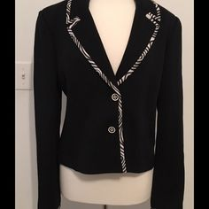 St John Collection Black Blazer Absolutely stunning St John Collection black knit blazer with eye popping striped piping. Two button closure, unlined. This blazer is pre-owned but could pass as new. Classic fit never goes out of style St. John Jackets & Coats Blazers