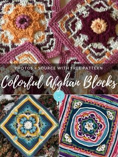 Today's collection is all about Colorful Afghan Blocks! The ones that stand out, make you stop, catch your eye. These kinds of squares are pieces of art Crochet Mandala Pattern, Granny Square Crochet Pattern, Crochet Blocks, Crochet Stitches Patterns, Crochet Squares, Knitting Patterns, Granny Squares, Flower Granny Square, Crochet Circles