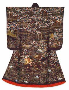 """Furisode kimono with narrative design (gosho-doki) of scenes from the Noh song entitled """"Ashi-kari"""". The second quarter of the nineteenth century (Late Edo period)."""